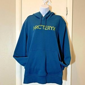 Arcteryx Logo Hoodie Pullover Teal Blue Spell Out